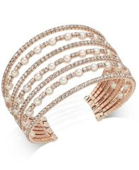 Image of I.N.C. Rose Gold-Tone Pearl & Pavé Multi-Row Cuff Bracelet, Created for Macy's