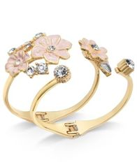 Image of I.N.C. Gold-Tone 2-Pc. Set Crystal & Pink Flower Hinged Cuff Bracelets, Created for Macy's