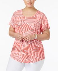 Image of JM Collection Plus Size Printed Short-Sleeve Top, Created for Macy's