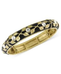 Image of 2028 Bracelet, a Macy's Exclusive Style, Gold-Tone and Jet Enamel Stretch Bracelet, a Macy's Exclusi