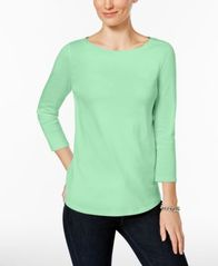 Image of Charter Club Petite Pima Cotton Button-Shoulder Top, Created for Macy's