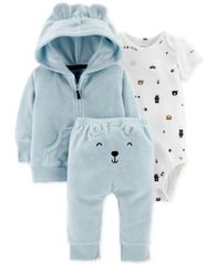 Image of Carter's Baby Boys 3-Pc. Bear Cardigan, Bodysuit & Pants Set