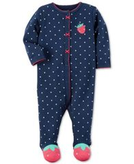 Image of Carter's 1-Pc. Dot-Print Strawberry Footed Coverall, Baby Girls (0-24 months)