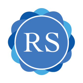 "A round blue logo with floral edging and the letters ""R"" and ""S"" in the middle in white."