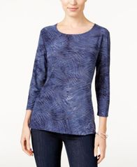 Image of JM Collection Petite Printed Jacquard Top, Created for Macy's
