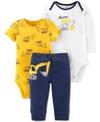 Image of Carter's Baby Boys 3-Pc. Construction Bodysuits & Pants Set