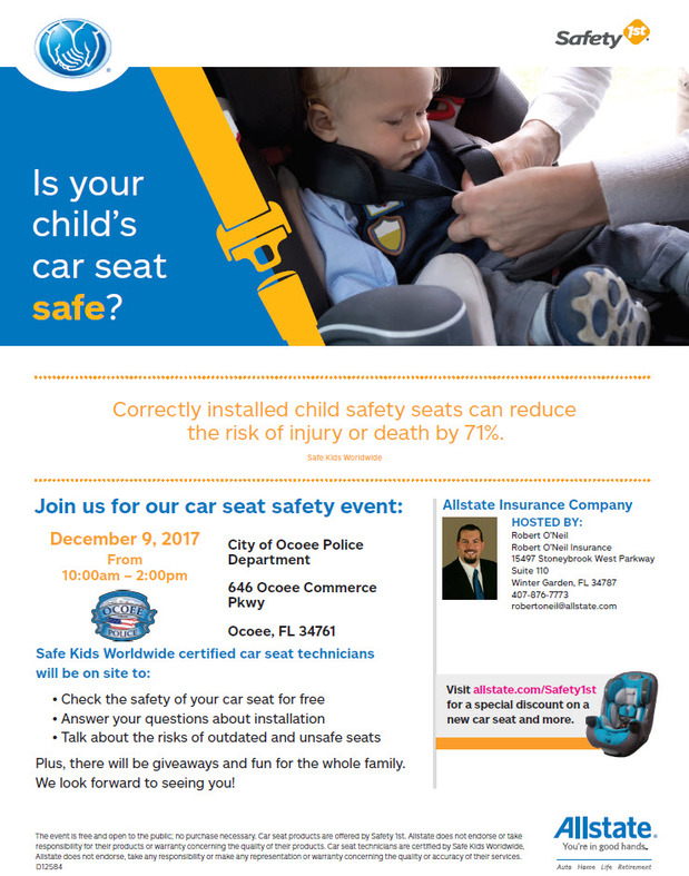 Robert O Neil - Join Us at Our Car Seat Safety Event!