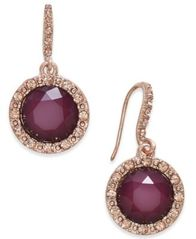 Image of INC International Concepts Rose Gold-Tone Pink Pavé & Purple Stone Drop Earrings, Created for Macy's
