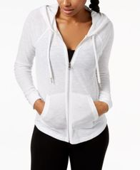 Image of Calvin Klein Performance Ruched-Sleeve Zip Hoodie
