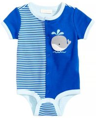 Image of First Impressions Whale-Print Cotton Bodysuit, Baby Boys, Created for Macy's