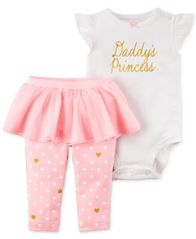 Image of Carter's 2-Pc. Daddy's Princess Bodysuit & Tutu Pants Set, Baby Girls