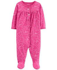 Image of Carter's Baby Girls Heart-Print Cotton Coverall