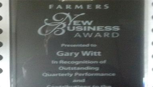 Our Farmers® New Business Award presented to Gary Witt