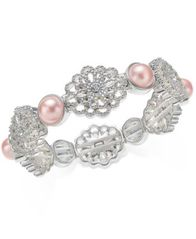 Image of Charter Club Silver-Tone Crystal Filigree & Imitation Pearl Stretch Bracelet, Created for Macy's