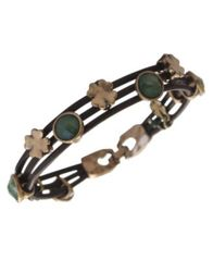 Image of Lucky Brand Bracelet, Gold-Tone Jade Stone Woven Leather Bracelet