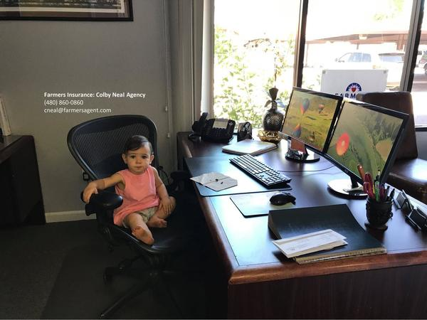 Emily sitting in the office