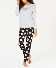 Image of Jenni by Jennifer Moore Cotton Graphic Top & Pajama Pants Set, Created for Macy's