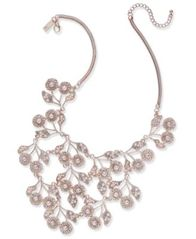 "Image of I.N.C. Rose Gold-Tone Pearl & Crystal Statement Necklace, 16"" + 3"" extender, Created for Macy's"