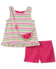 Image of Kids Headquarters Baby Girls 2-Pc. Striped Top & Shorts Set,