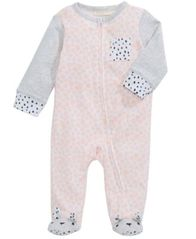 Image of First Impressions Mixed-Print Footed Coverall, Baby Girls, Created for Macy's