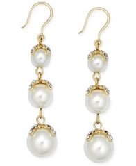 Image of Charter Club Gold-Tone Imitation Pearl Linear Earrings, Created for Macy's
