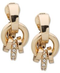 Image of Anne Klein Gold-Tone Pavé Ring E-Z Comfort Clip-On Drop Earrings