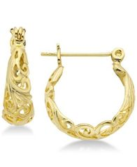 Image of Essentials Filigree Hoop Earrings in Silver- and Gold-Plate
