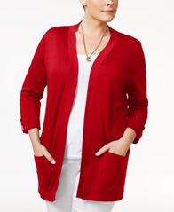Image of Karen Scott Plus Size Cotton Open-Front Cardigan, Created for Macy's
