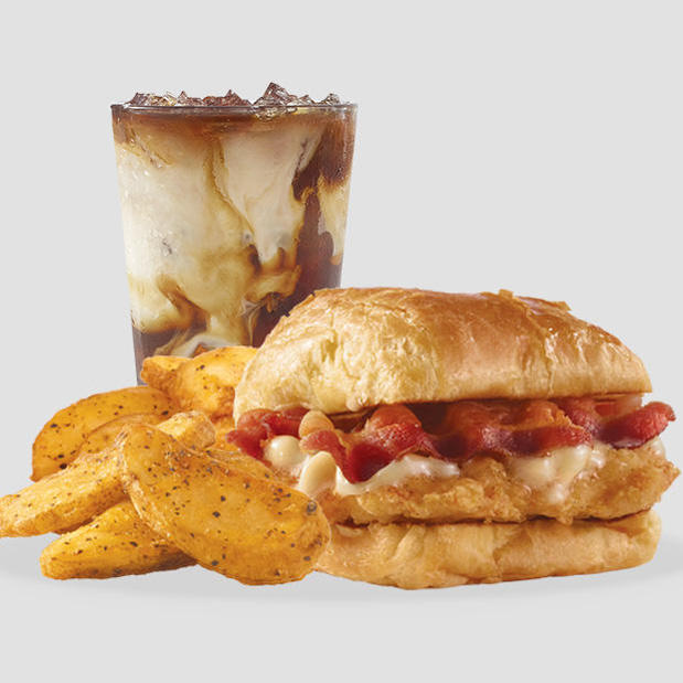 Wendy's Maple Bacon Chicken Croissant, Seasoned Potatoes & Frosty-ccino