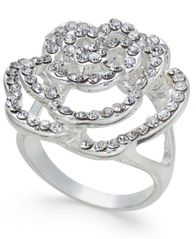 Image of I.N.C. Silver-Tone Pavé Rose Ring, Created for Macy's