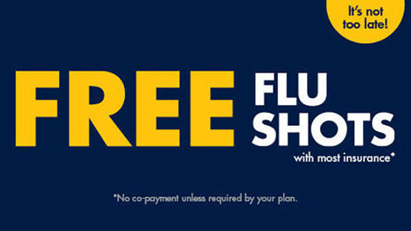 It's not too late!  Free Flu Shots with most insurance.  No co-payment unless required by your plan