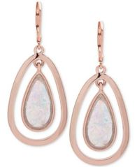 Image of Anne Klein Rose Gold-Tone Pink Stone Orbital Drop Earrings, Created for Macy's