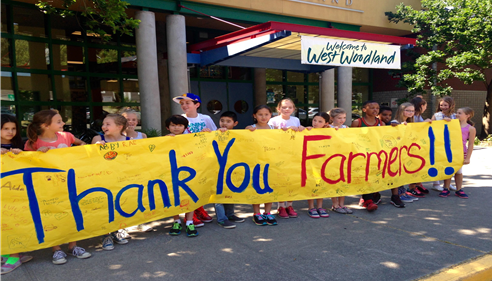 The kids at West Woodland Elementary welcoming Farmers® to their school.