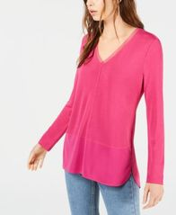 Image of Bar III Long Sleeve V-Neck Mixed Media Mesh Top, Created for Macy's