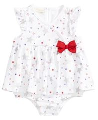 Image of First Impressions Star-Print Cotton Skirted Romper, Baby Girls, Created for Macy's