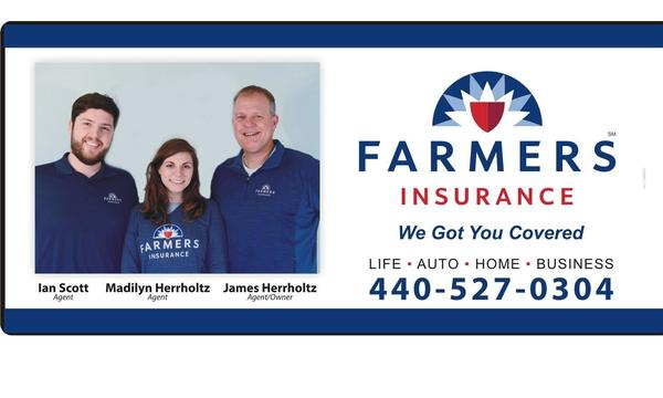 Advertisement showing Farmers Insurance Herrholtz agency staff