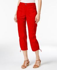Image of Style & Co Petite Bungee-Hem Cargo Capri Pants, Created for Macy's