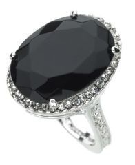 Image of GUESS Ring, Silver-Tone Black Crystal