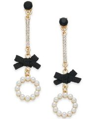 Image of I.N.C. Gold-Tone Crystal, Stone, Imitation Pearl & Bow Linear Drop Earrings, Created for Macy's