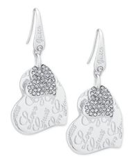 Image of GUESS Silver-Tone Pavé Heart Drop Earrings