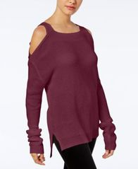 Image of Hooked Up by IOT Juniors' Knit Cold-Shoulder Sweater