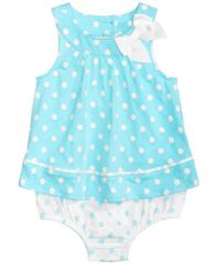 Image of First Impressions Dot-Print Cotton Skirted Romper, Baby Girls, Created for Macy's