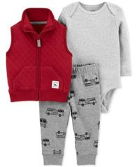 Image of Carter's Baby Boys 3-Pc. Quilted Vest, Bodysuit & Jogger Pants Set
