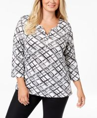 Image of Karen Scott Plus-Size Printed 3/4-Sleeve Henley, Created for Macy's
