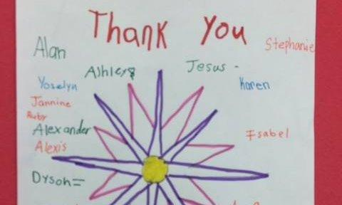 A thank you note written by children.