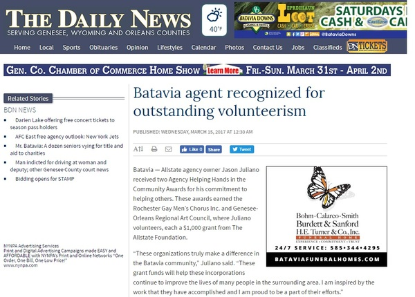 Jason Juliano - Batavia agent recognized for outstanding volunteerism