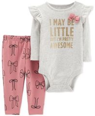 Image of Carter's Baby Girls 2-Pc. Cotton Awesome Bodysuit & Bow-Print Pants Set