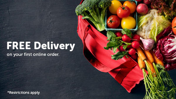 Picture of fresh vegetables.  Free delivery on your first online order.