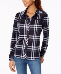 Image of Polly & Esther Juniors' Lattice-Trim Plaid Button-Up Shirt