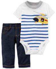 Image of Carter's 2-Pc. Helicopter Cotton Bodysuit & Pants Set, Baby Boys